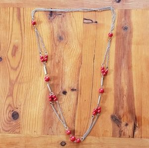 Vtg Retro Funky Silver Chain & Red Bead Necklace